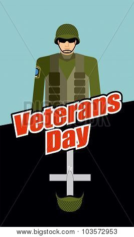 Veterans Day. Soldiers And Tomb. Patriotic Celebration Of America. Cross With Military Helmet