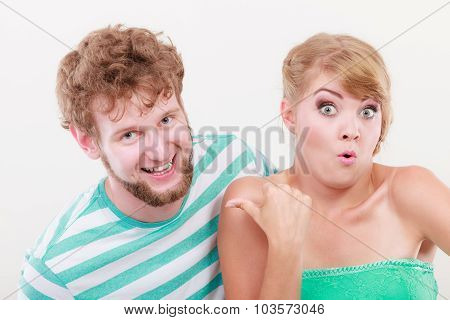Playful Young Couple Blonde Girl Bearded Man