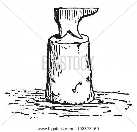 Anvil blacksmith, vintage engraved illustration.
