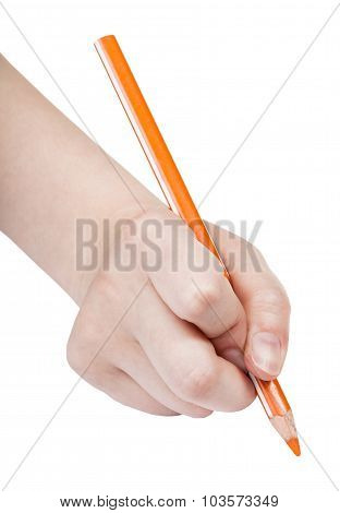 Hand Paints By Orange Pencil Isolated