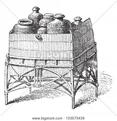 Cart carrying bottles, vintage engraved illustration.