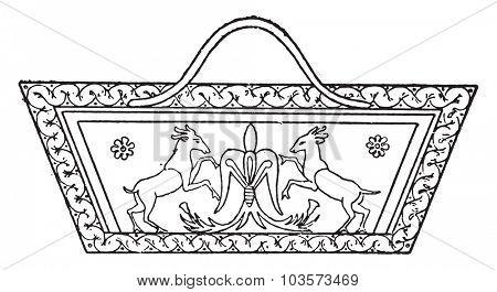 Egyptian basket, vintage engraved illustration.