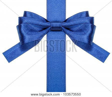 Blue Bow With Square Cut Ends On Vertical Ribbon