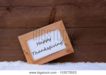 Christmas Card With Picture Frame, Happy Thanksgiving, Snow