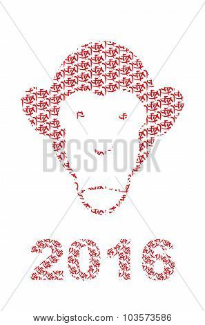 Monkey Of  Chinese Characters. Chinese New Year Style. Muzzle Monkeys. Christmas Vector Illustration