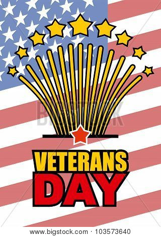 Veterans Day. Salute Honoring American Heroes On  Background Of Usa  Flag. Vector Illustration Of Pa