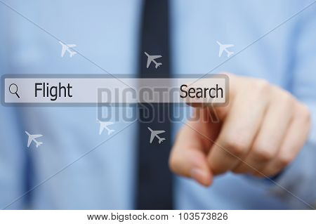 Businessman Is Pressing Search Button For Finding Cheap Flights  Online