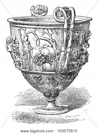 Silver vase, vintage engraved illustration.