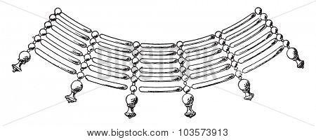 Necklace fragment form of cylinders, vintage engraved illustration.