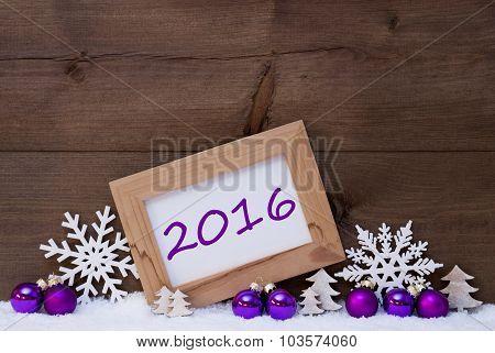 Purple Christmas Decoration, Snow, 2016
