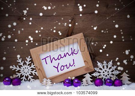 Purple Christmas Decoration, Snow, Thank You, Snowflakes