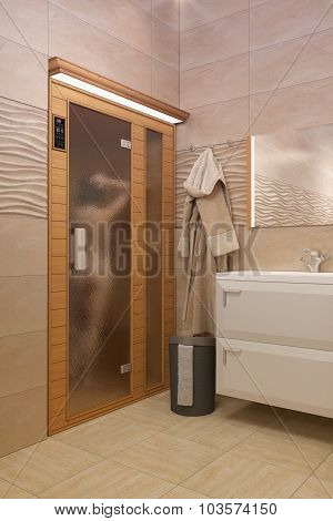 3D Rendering Of The Bathroom With Spa