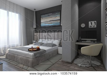 3D Illustration Of Bedrooms In A Contemporary Style