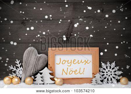 Golden Gray Decoration,Snow,Joyeux Noel Mean Christmas,Snowflake