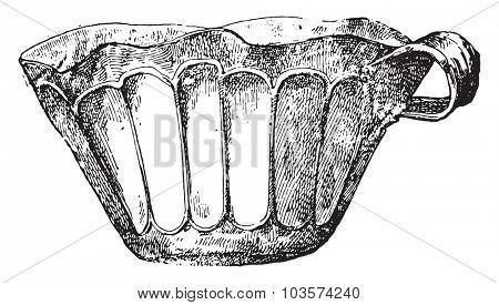 Golden cup of Greek labor, vintage engraving.