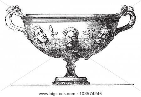 Silver vase, vintage engraved illustration.