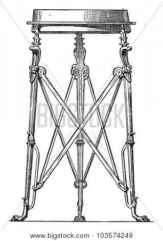 Tripod snakes, vintage engraved illustration.