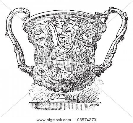 Crater decorated masks, vintage engraved illustration.