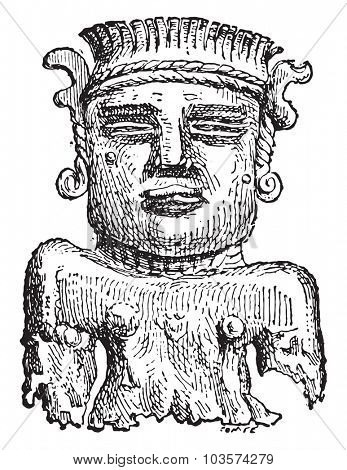 Gold figurine found at Adloun, vintage engraved illustration.
