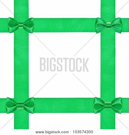 Four Little Green Bow Knots On Four Satin Strips