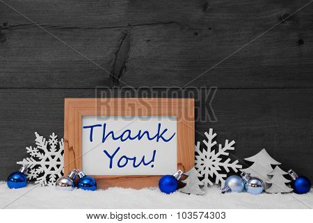 Blue Gray Christmas Decoration, Snow, Thank You