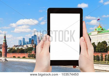 Tablet With Cut Out Screen And Moscow Embankment