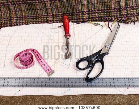 Cutting Table With Material, Pattern, Tailor Tools