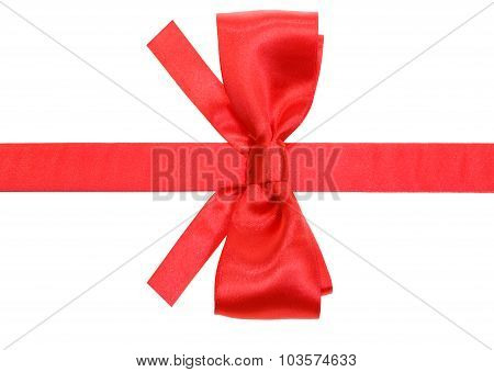 Real Red Silk Bow With Square Cut Ends On Ribbon