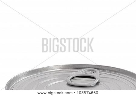 Tin Can Lid, Food Preserve Ringpull Canister Sealed Top, Large Detailed Isolated Macro Closeup Blank