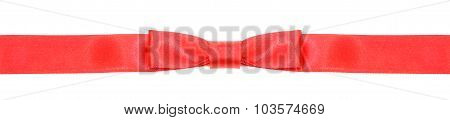 Symmetric Red Bow Knot On Narrow Silk Ribbon