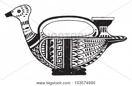 Painted pottery, vintage engraved illustration.