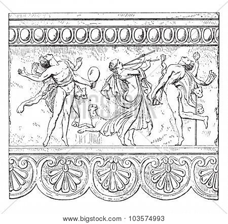Metope with figures, vintage engraved illustration.