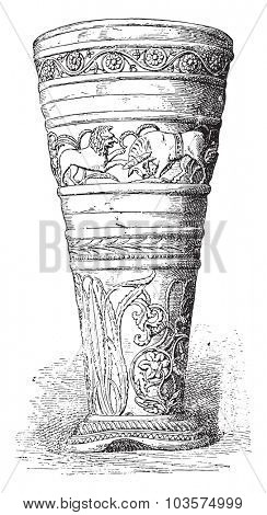 Silver Goblet treasure of Hildesheim, vintage engraved illustration.