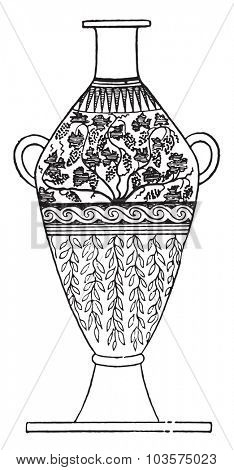 Handled vase decorated with leaves, vintage engraved illustration.