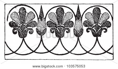 Greek ornament, vintage engraved illustration.