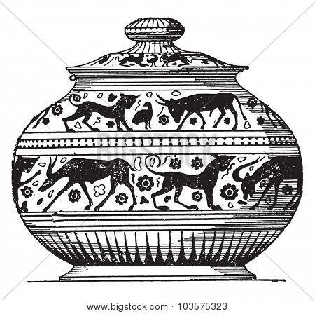 Painted vase oriental style, vintage engraved illustration.