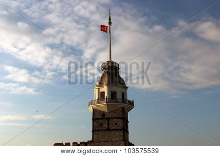 Close up image Maiden's Tower in Istanbul, Turkey