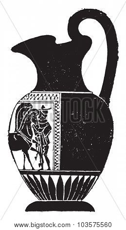Black vase decorated on one side only, vintage engraved illustration.