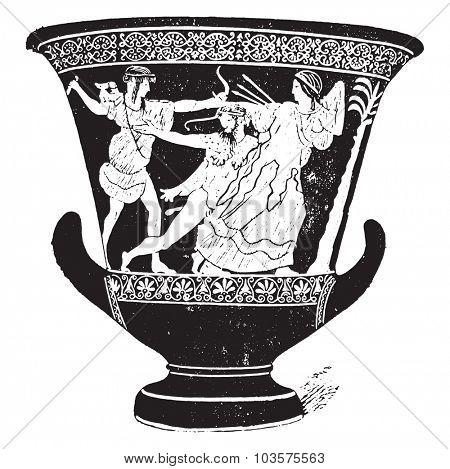 Vase with red figures, vintage engraved illustration.