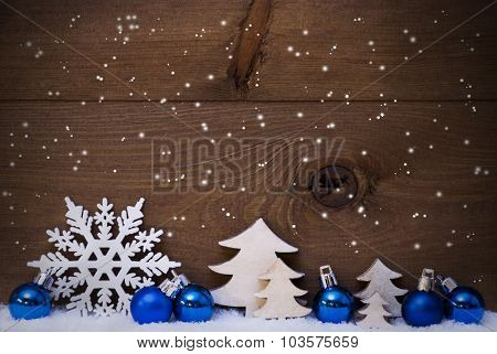Blue Christmas Card With Decoration, Snow, Copy Space, Snowflake