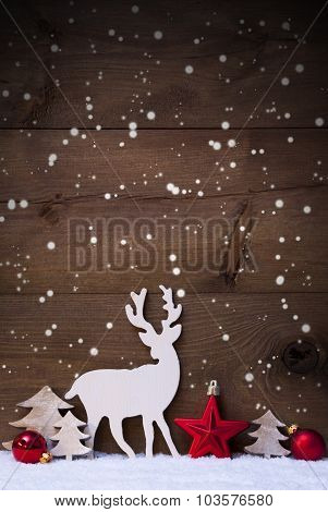 Vertical Red Christmas Card With Copy Space On Snow, Snowflakes