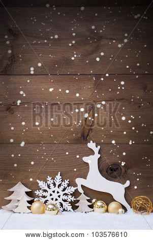 Vertical White, Golden Christmas Card With Copy Space, Snowfalke