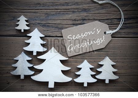 Label And Christmas Trees With Seasons Greetings