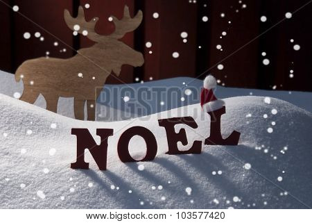 Card With Moose And Snow, Noel Mean Christmas, Snowflakes