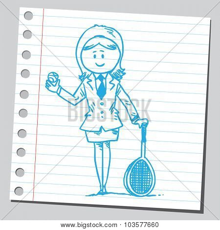 Businesswoman with tennis racket and tennis ball