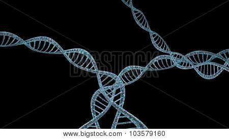 3D DNA strand with vibrant colors for genetics background