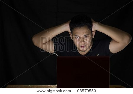 Shocked Man In Front Of His Laptop