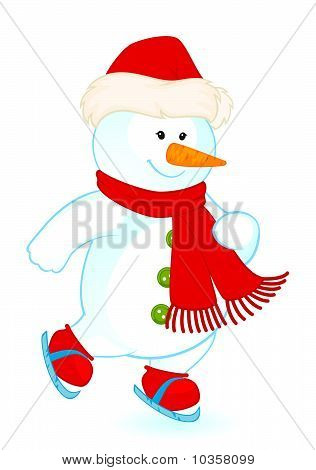 cartoon little cute snowman