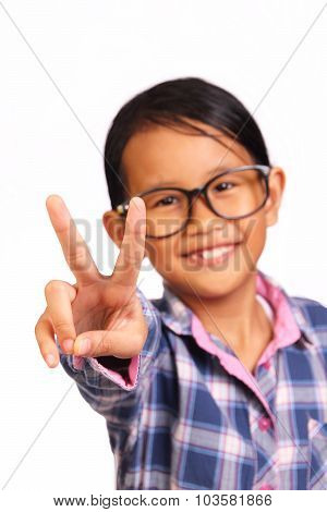 Little Girl With Peace Gesture