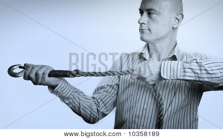 Portrait Of Business Man Concept With Rope